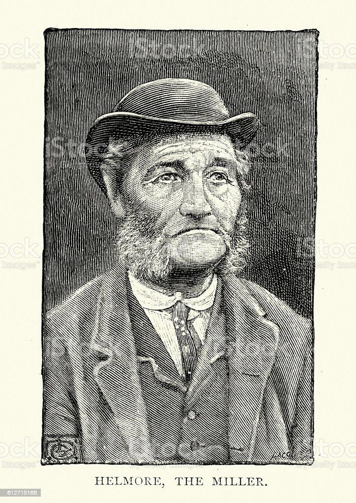 Old man from, South Zeal,  Dartmoor 19th Century vector art illustration