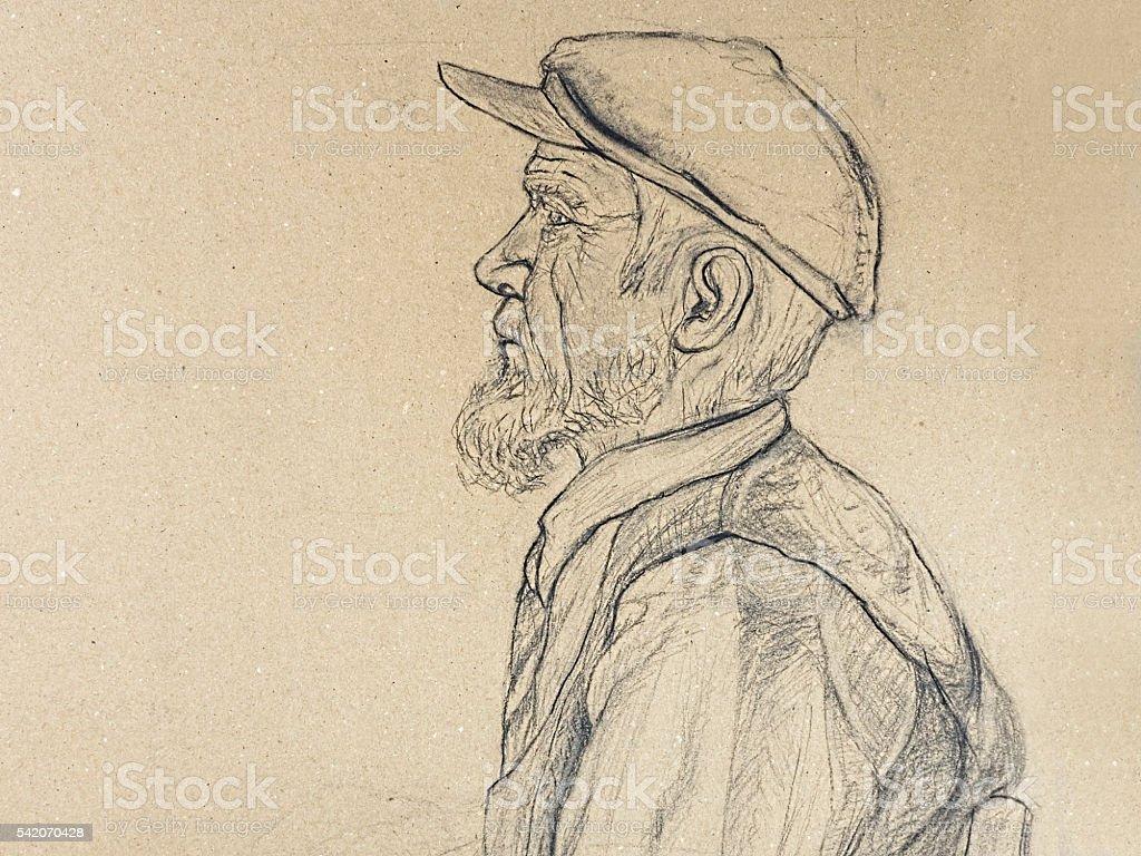 Old man portrait vector art illustration