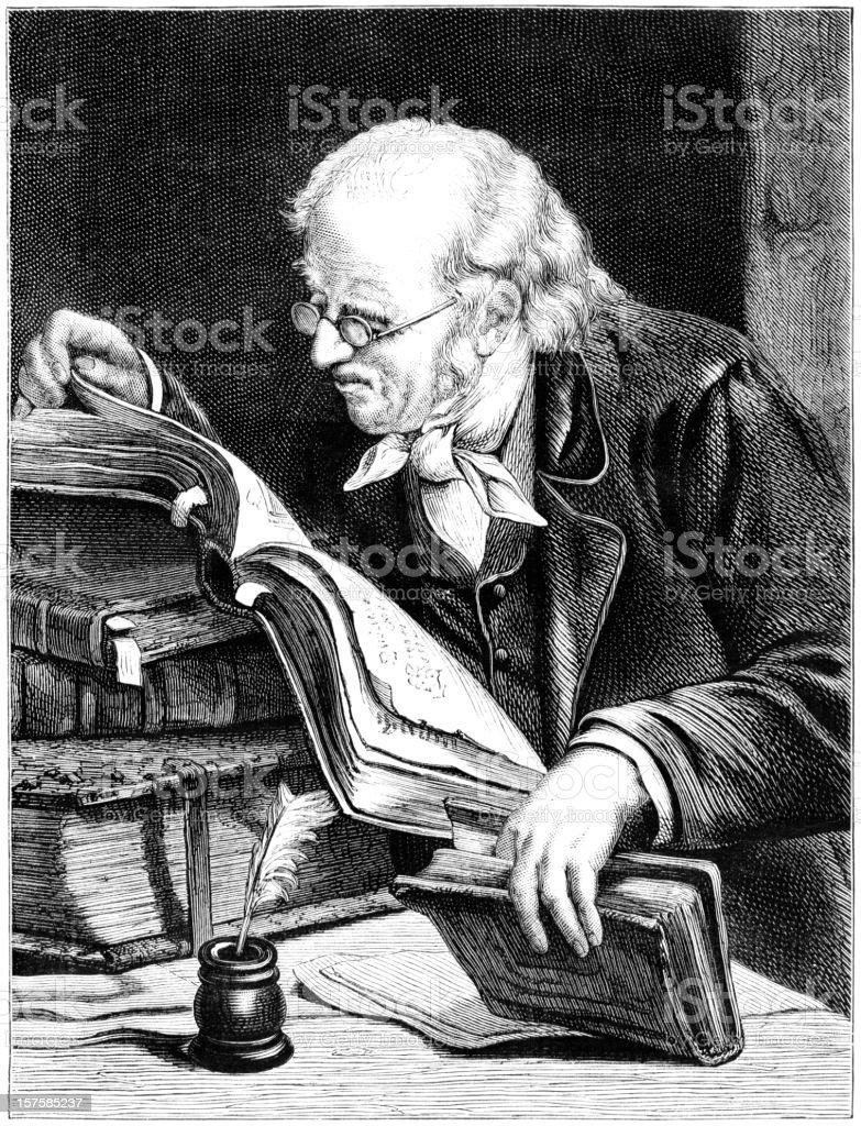 Old man reading books (Victorian illustration) royalty-free stock vector art