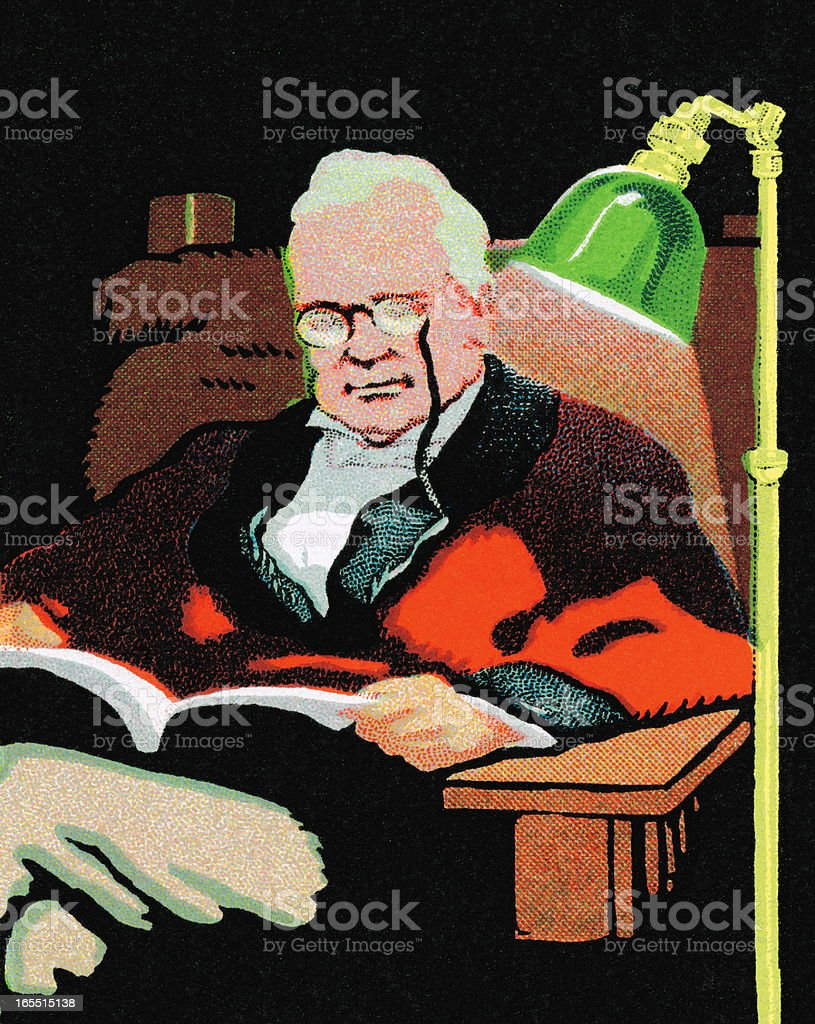 Old Man Reading in a Chair royalty-free stock vector art