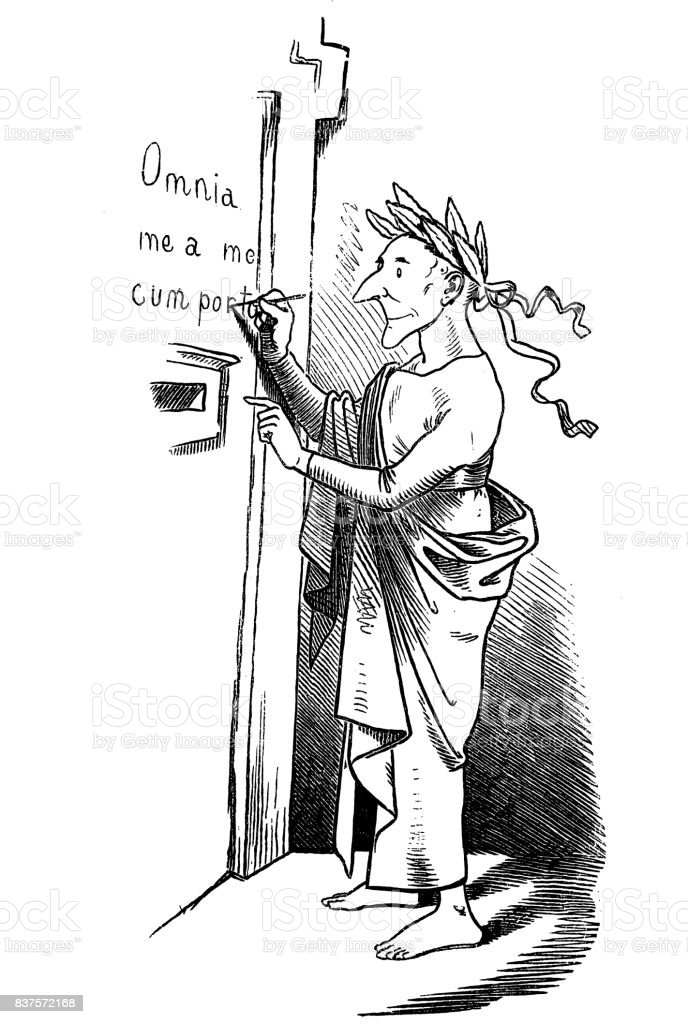 Old man with a laurel wreath on his head writes a text on the wall 'Omnia mea mecum porto' meaning 'All that is mine I carry with me' - 1867 vector art illustration