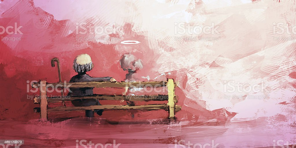 Old man with his wife vector art illustration