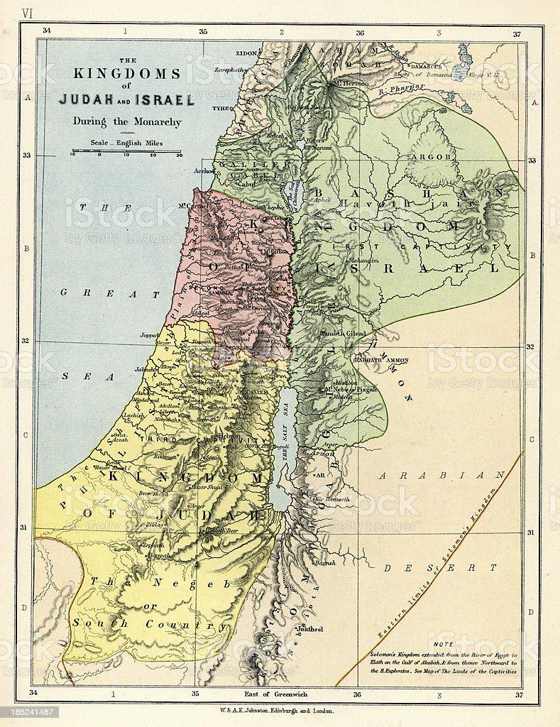 Old Map: Kingdoms of Judah and Israel vector art illustration