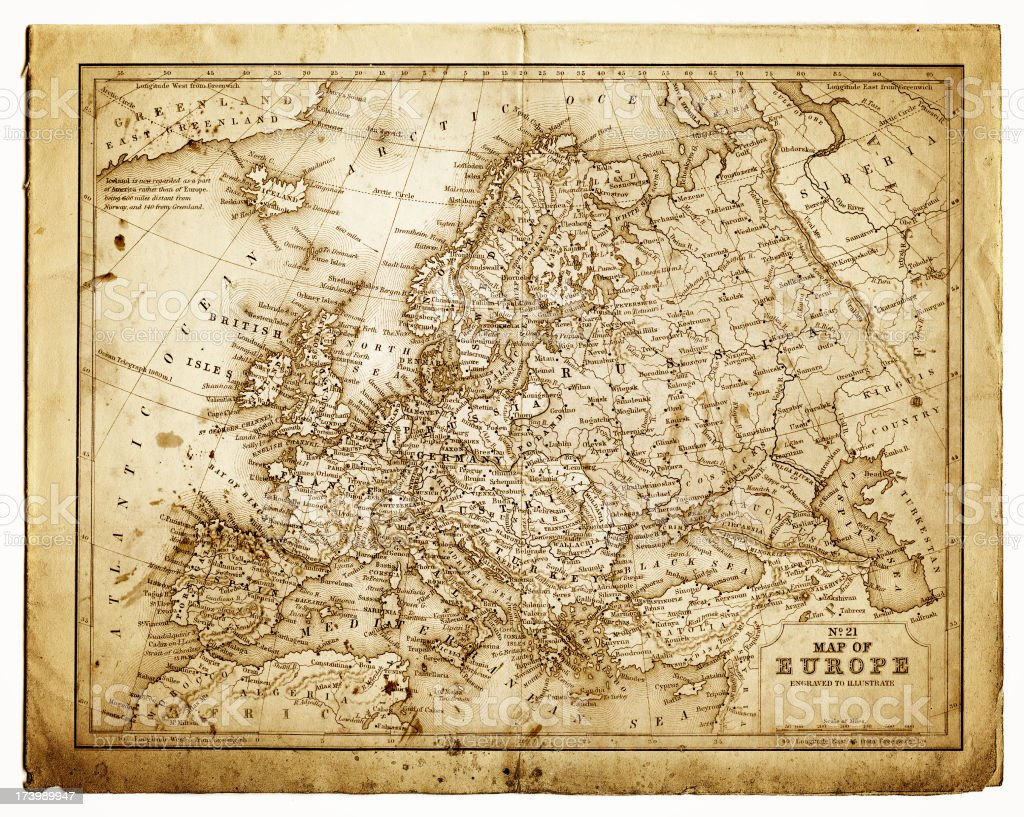 old map of central europe vector art illustration