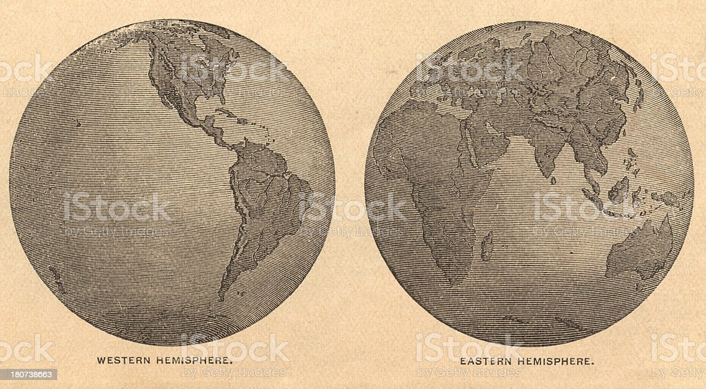 Old, Map of Eastern and Western Hemispheres, From 1875 royalty-free stock vector art
