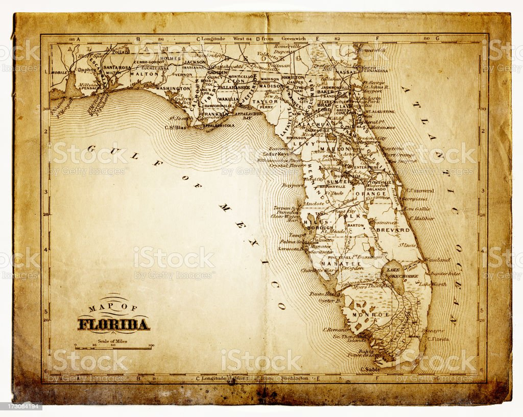 old map of florida vector art illustration