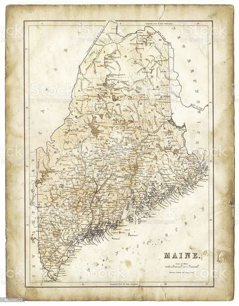 Old Map Of Maine  Stock Vector Art  IStock - Maine on map of usa