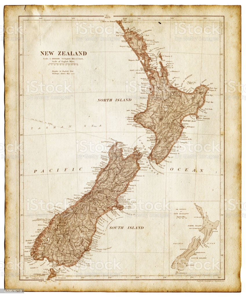 Old map of New Zealand and Tasmania 1899 vector art illustration