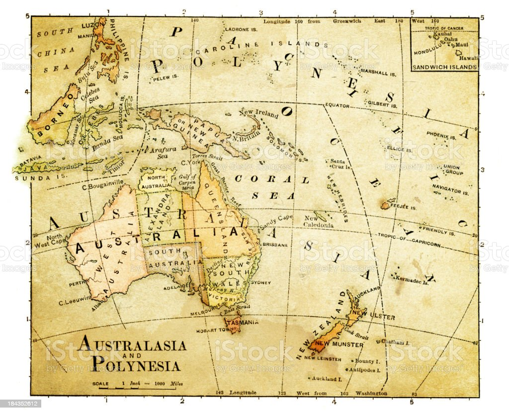old map of oceania vector art illustration