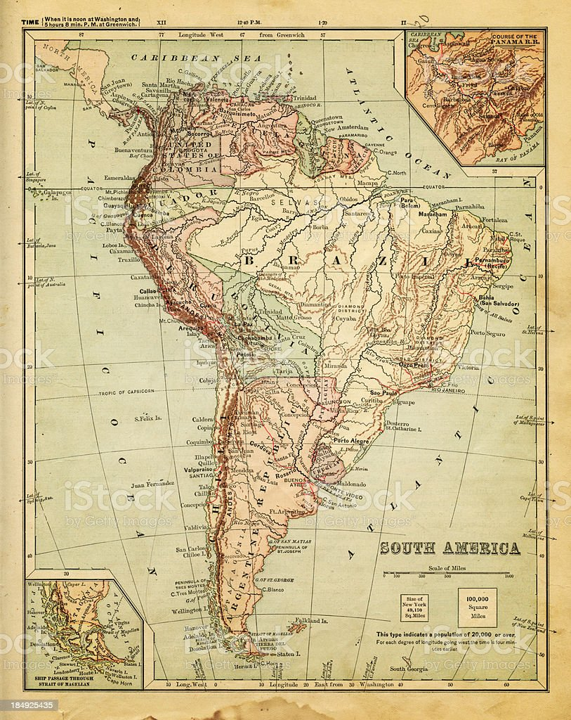 Old Map Of South America Stock Vector Art  IStock - Old maps of america