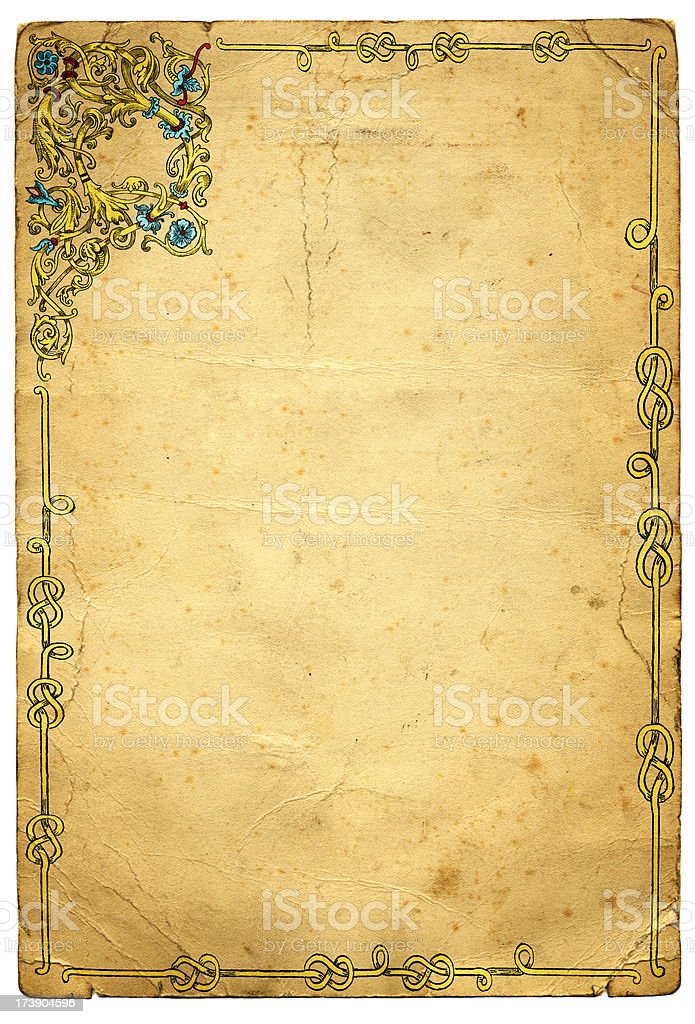 Old Medieval Illuminated Frame Design vector art illustration
