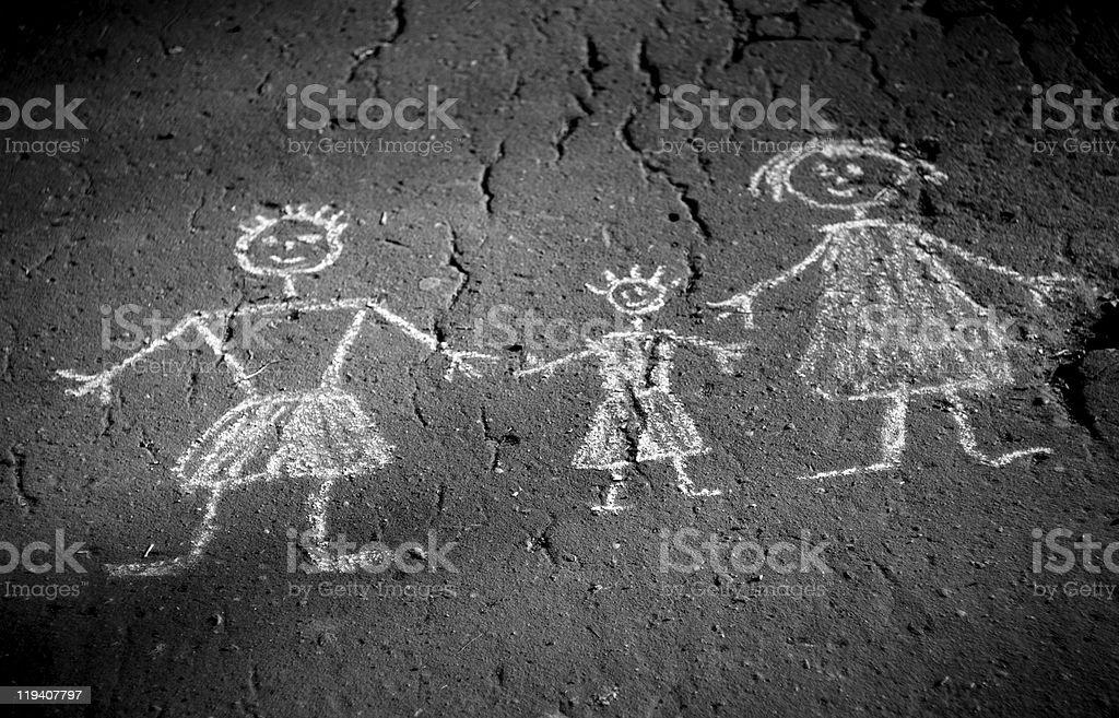 Old monochrome photography - family doodle. Picture on asphalt. vector art illustration