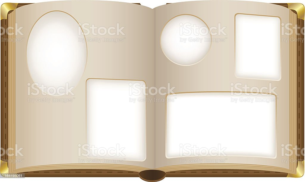 old open photo album with blank photos vector illustration royalty-free stock vector art