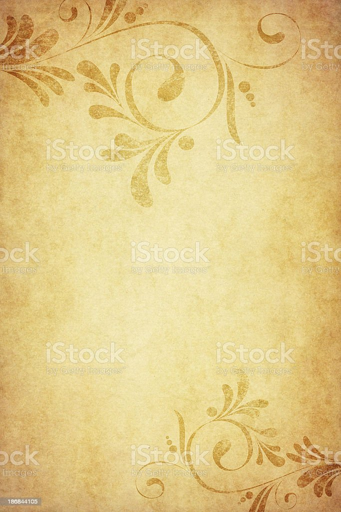 old paper with calligraphic floral corners royalty-free stock vector art