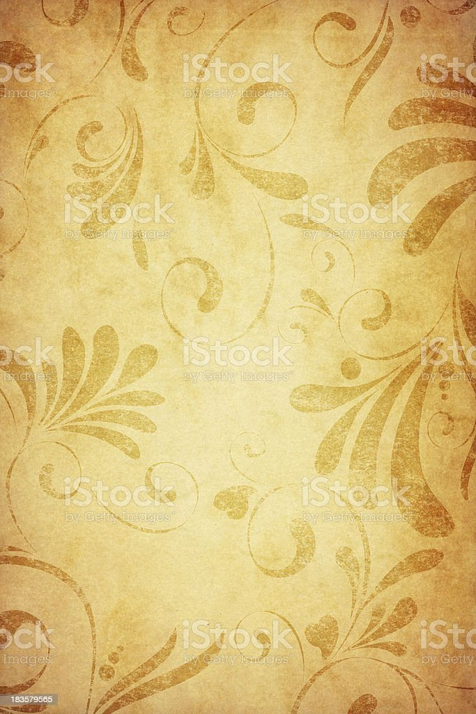 old paper with floral pattern vector art illustration