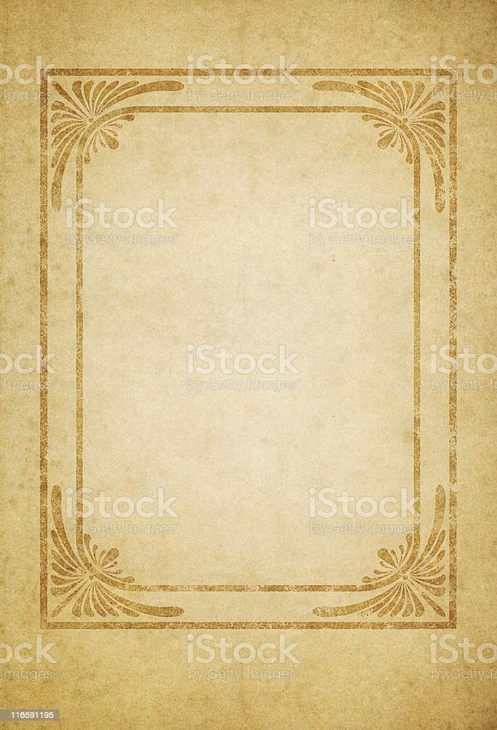 old paper with grungy art deco frame vector art illustration