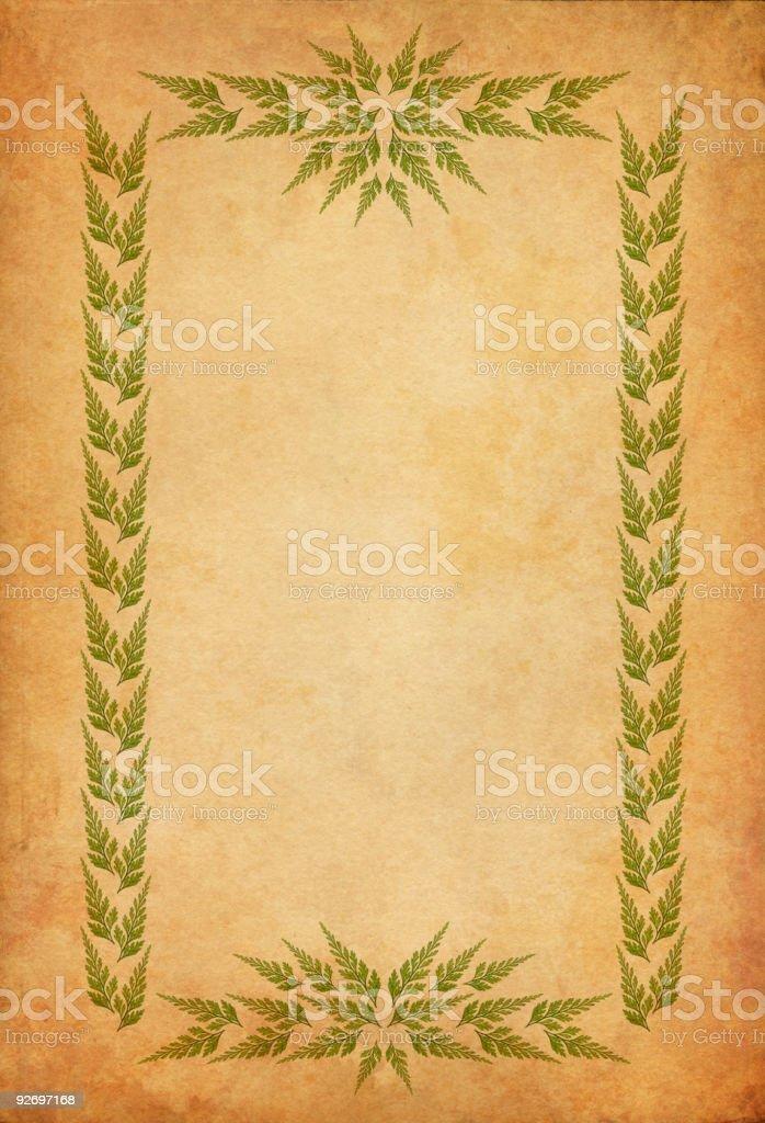 old paper with leaf-frame vector art illustration