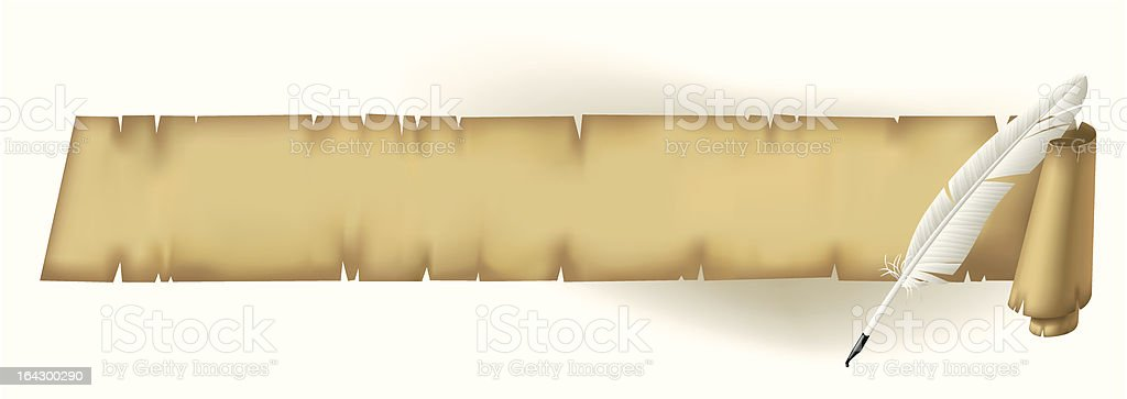 Old parchment with a feather royalty-free stock vector art
