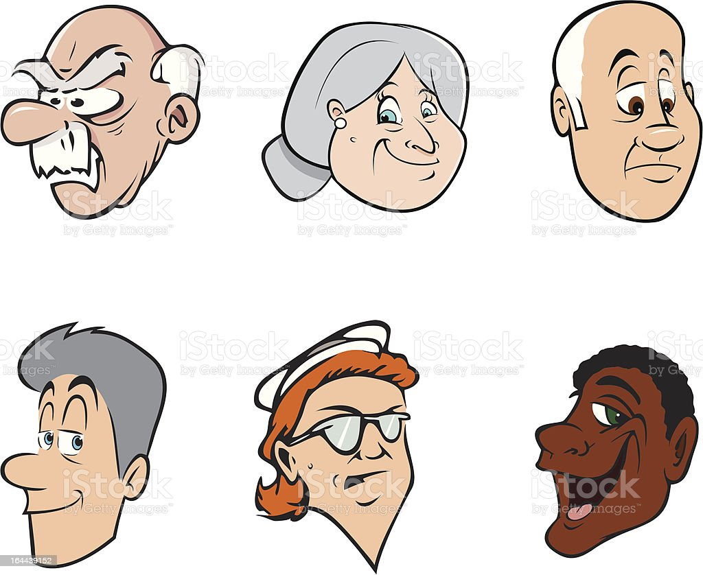 old people faces 2 vector art illustration