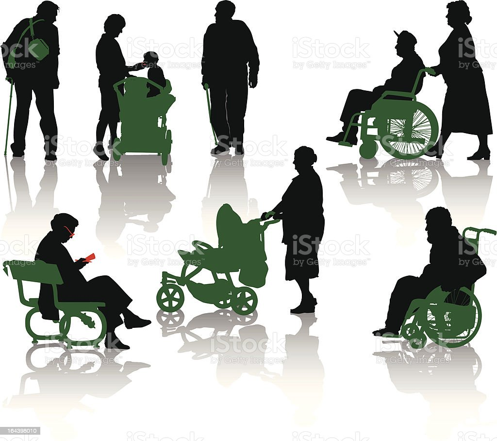 Old people silhouette royalty-free stock vector art