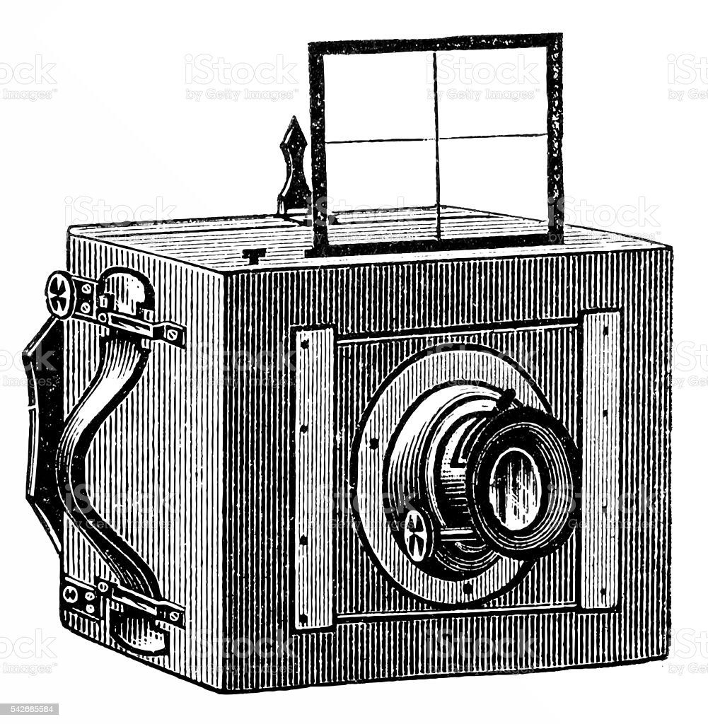 Old photo camera vector art illustration