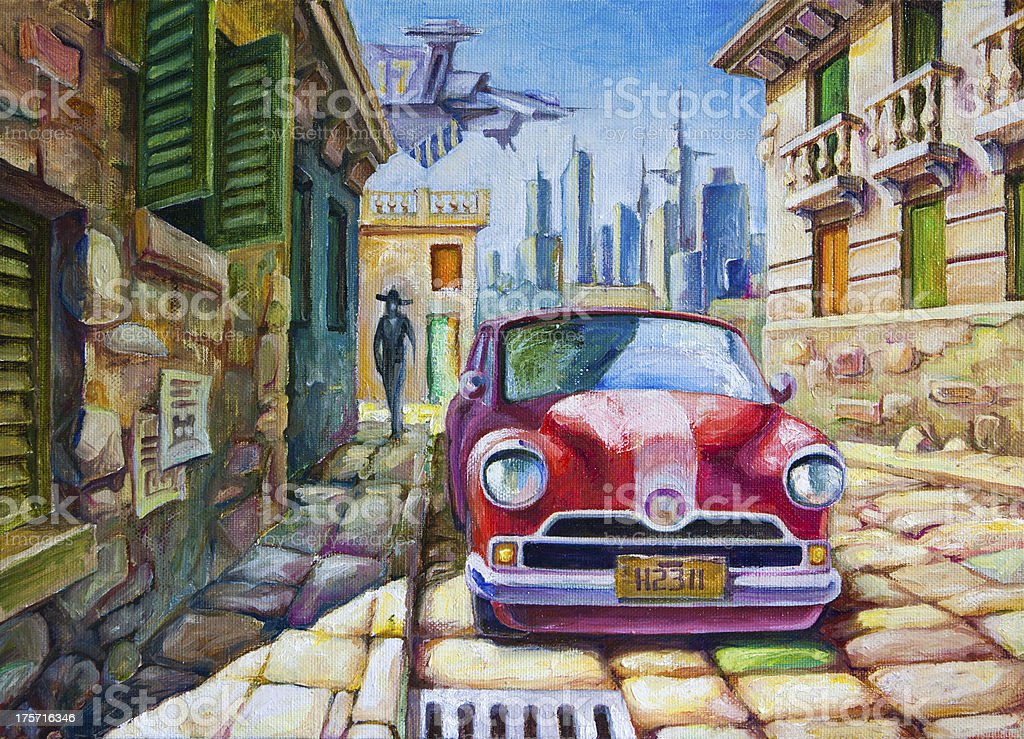 Old Red Car at the Sunny Street vector art illustration
