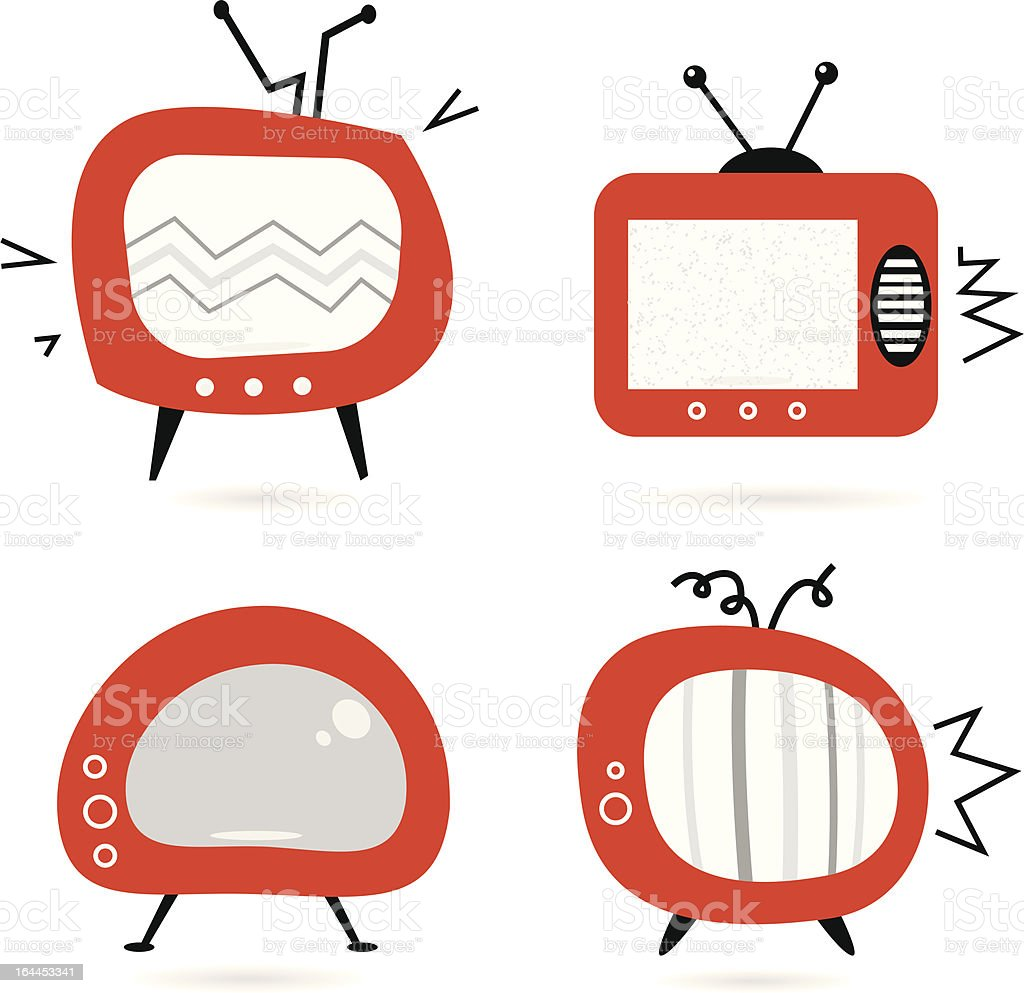 Old retro TV collection isolated on white royalty-free stock vector art