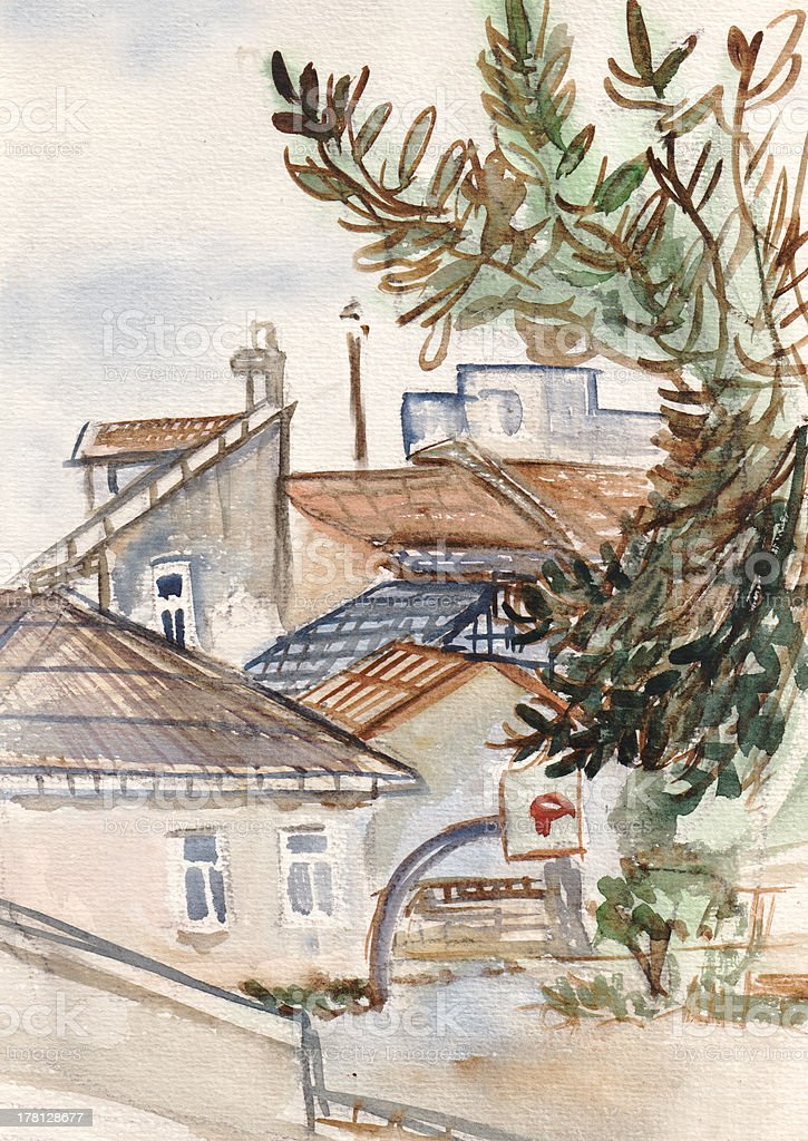 Old roofs royalty-free stock vector art