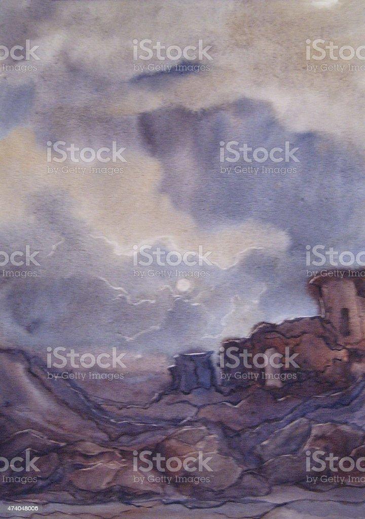 Vecchio castello in rovina-watercolor illustrazione royalty-free