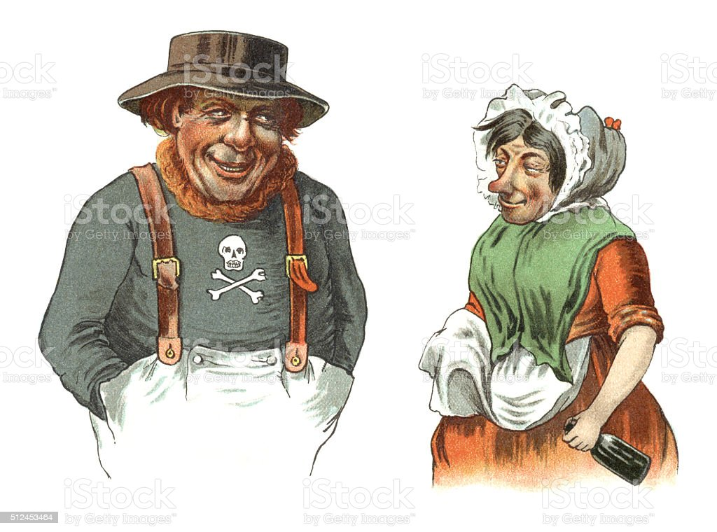 Old sailor and his wife with a bottle vector art illustration