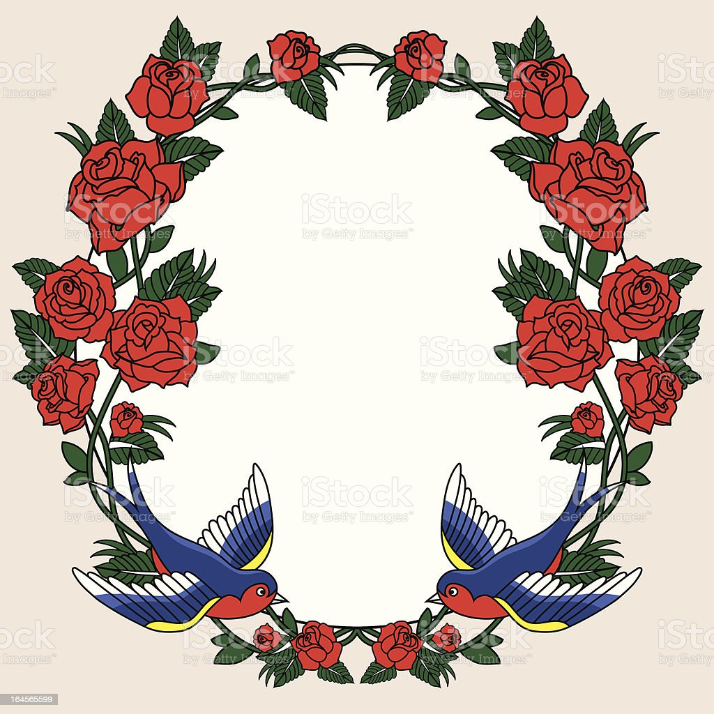 old school frame with roses vector art illustration