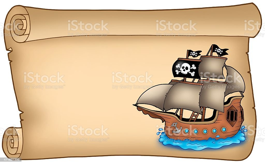 Old scroll with pirate ship royalty-free stock vector art