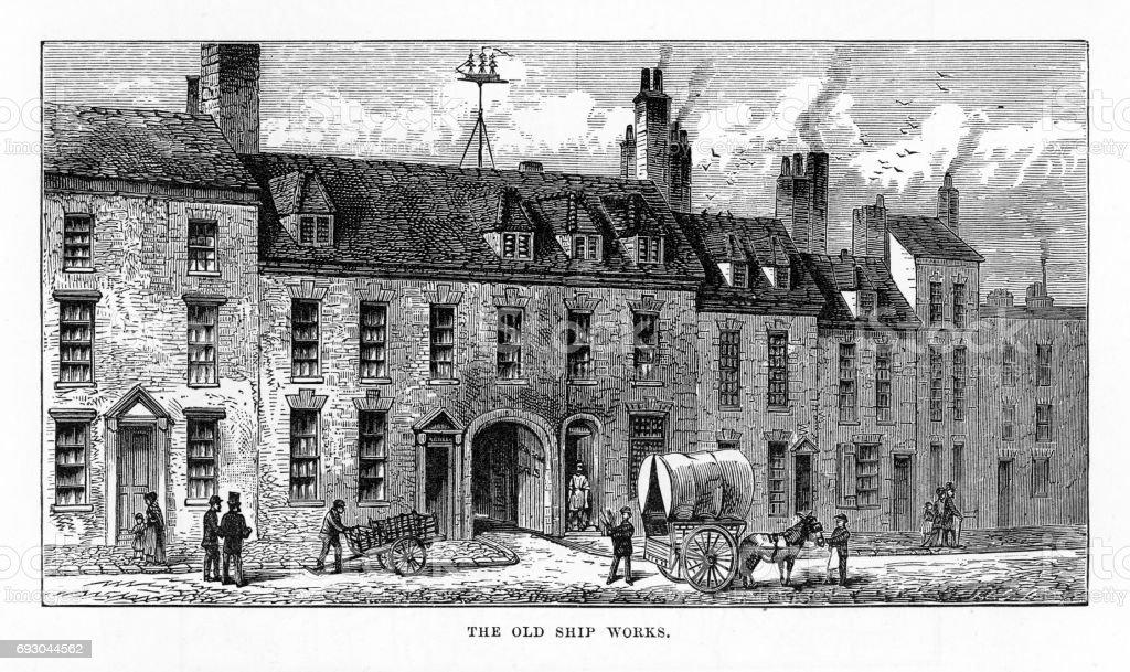 Old Ship Works, Birmingham, Midlands, England Victorian Engraving, 1840 vector art illustration