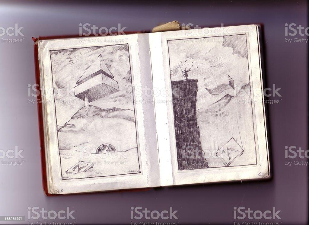 Old Sketch Book 2 vector art illustration