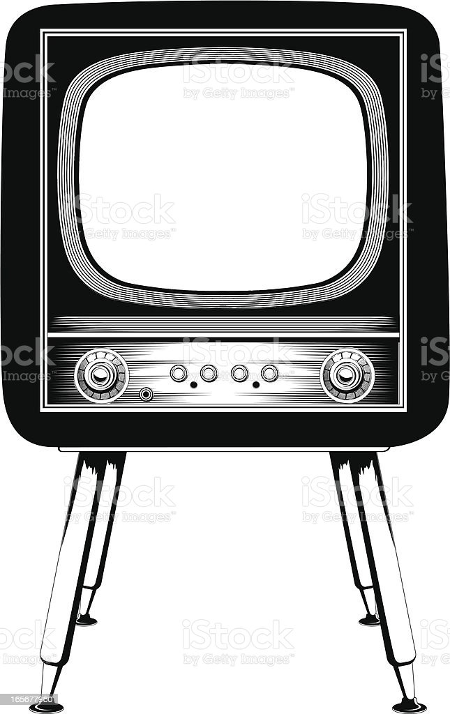 Old television vector art illustration