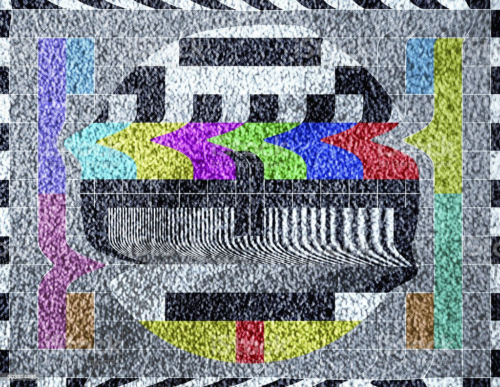 Old television test pattern broadcast with static signal vector art illustration
