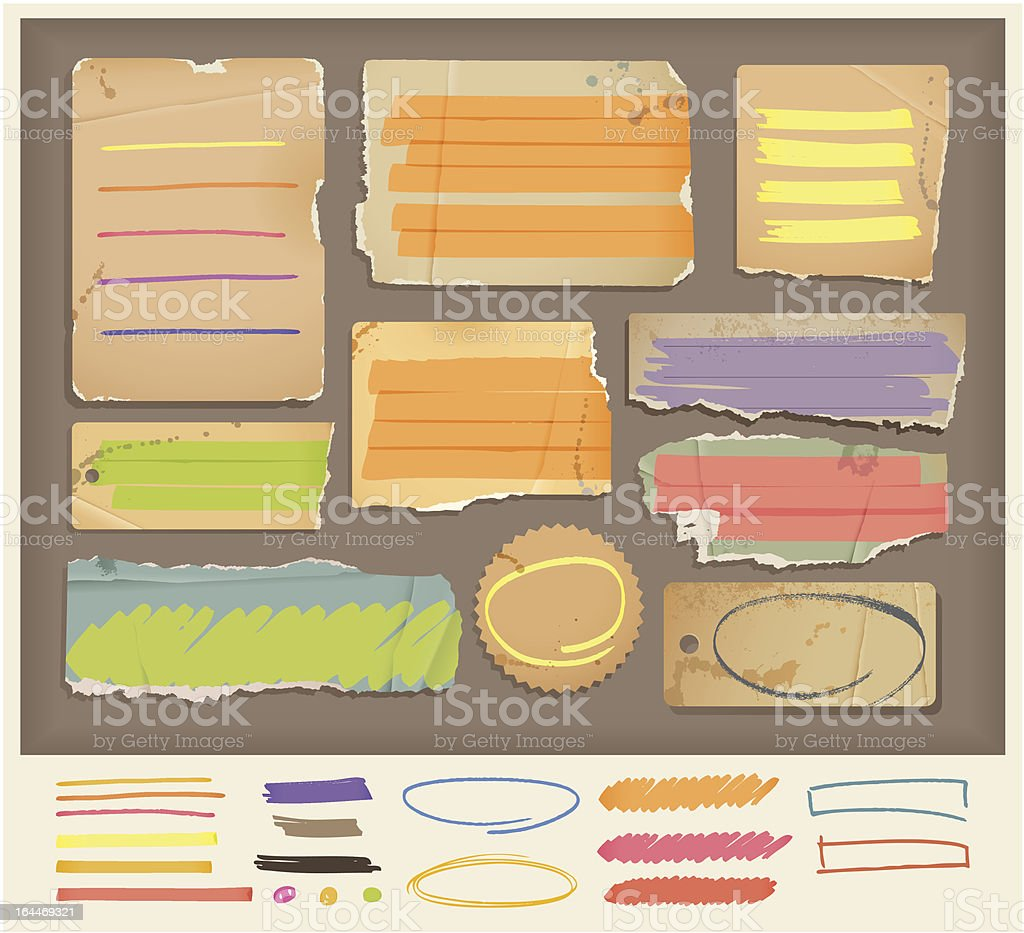 old torn paper objects & highlight elements royalty-free stock vector art