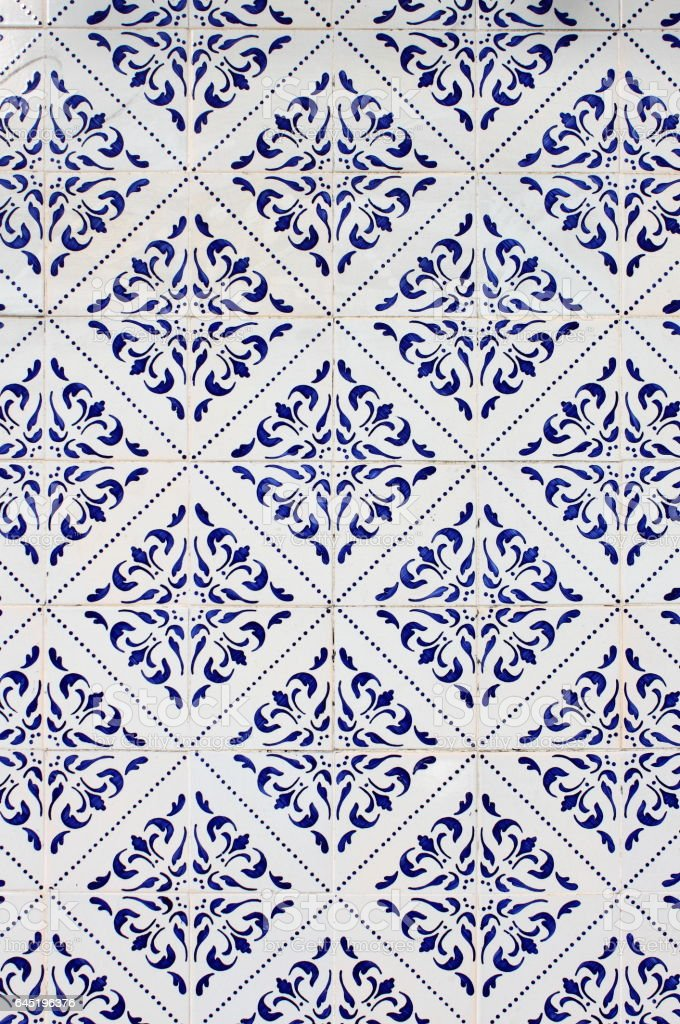 Old traditional Portuguese Azulejos stock photo