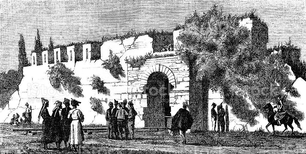 Old Turkish wall royalty-free stock vector art