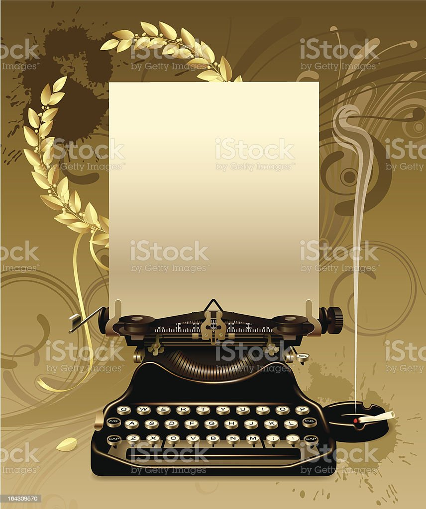 Old typewriter with laurels royalty-free stock vector art