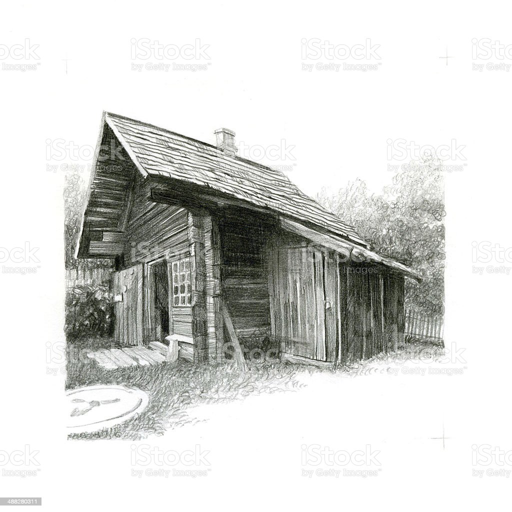 Old village vector art illustration
