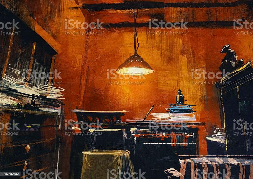 old vintage workspace in orange room vector art illustration
