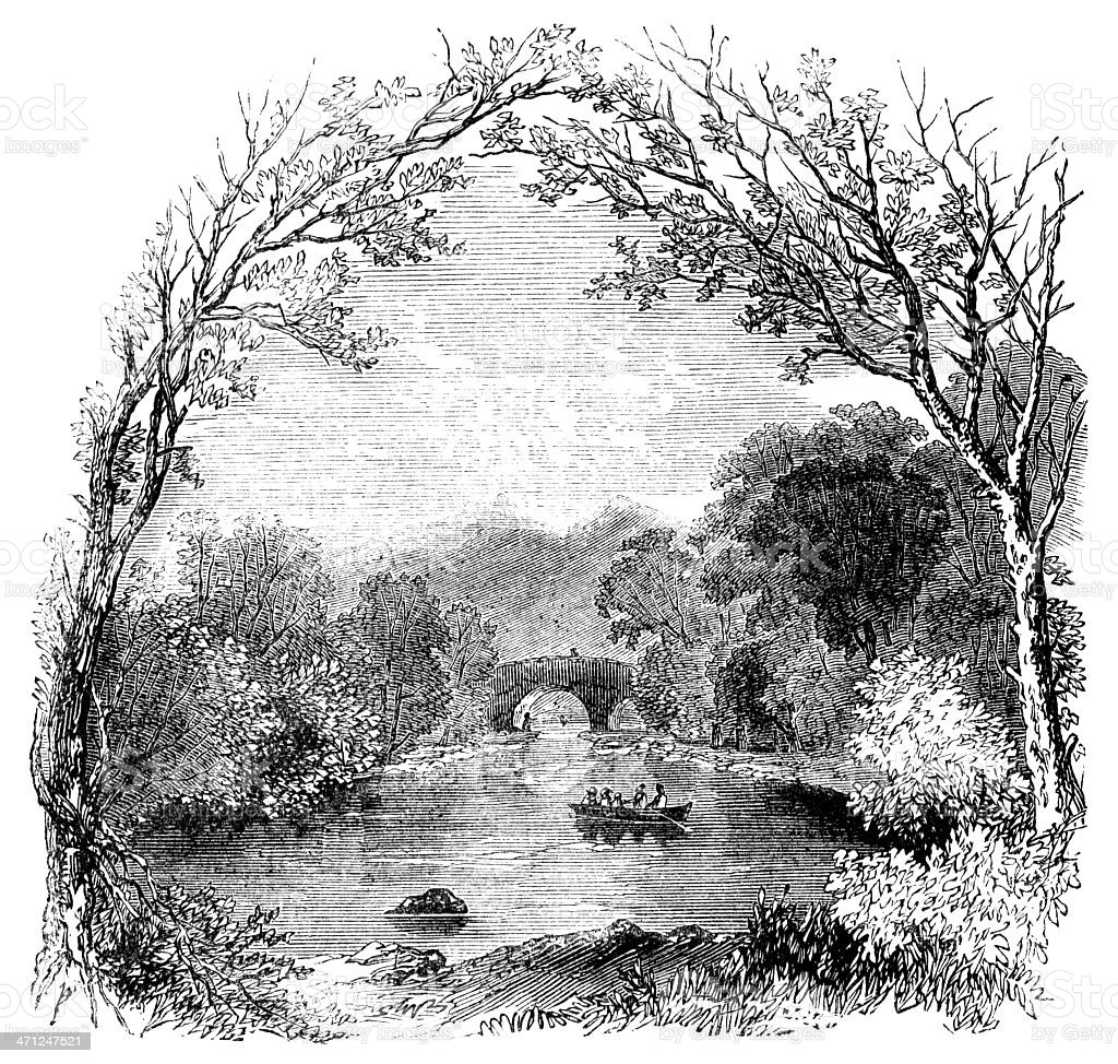 Old Weir Bridge, Lakes of Killarney (Victorian sketch) royalty-free stock vector art