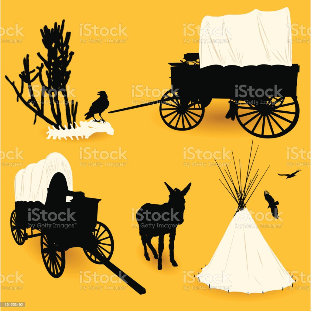 Old West Elements vector art illustration