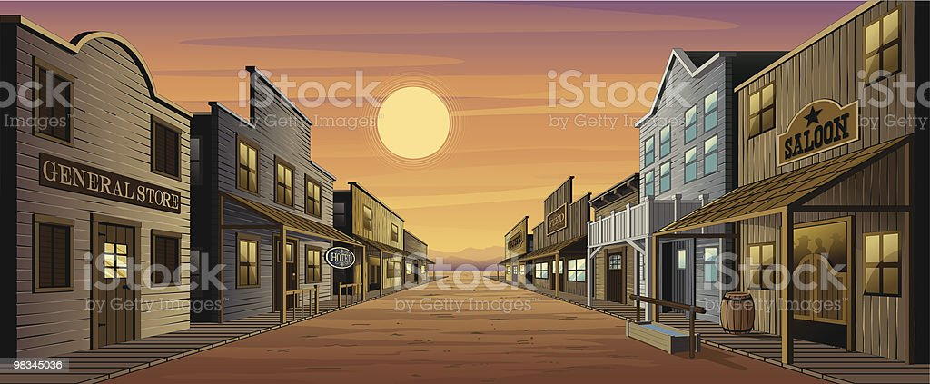 Old West Town vector art illustration