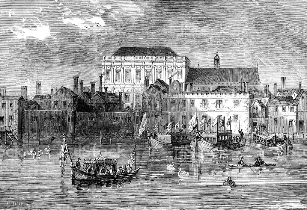 Old Whitehall Palace from the Thames vector art illustration