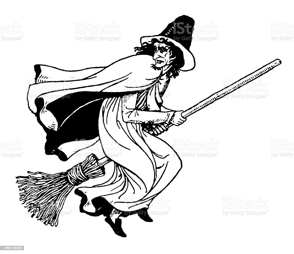 Old witch on a broomstick vector art illustration
