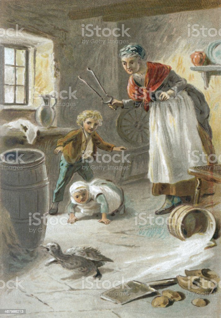 Old woman and children chasing a duck from a house vector art illustration