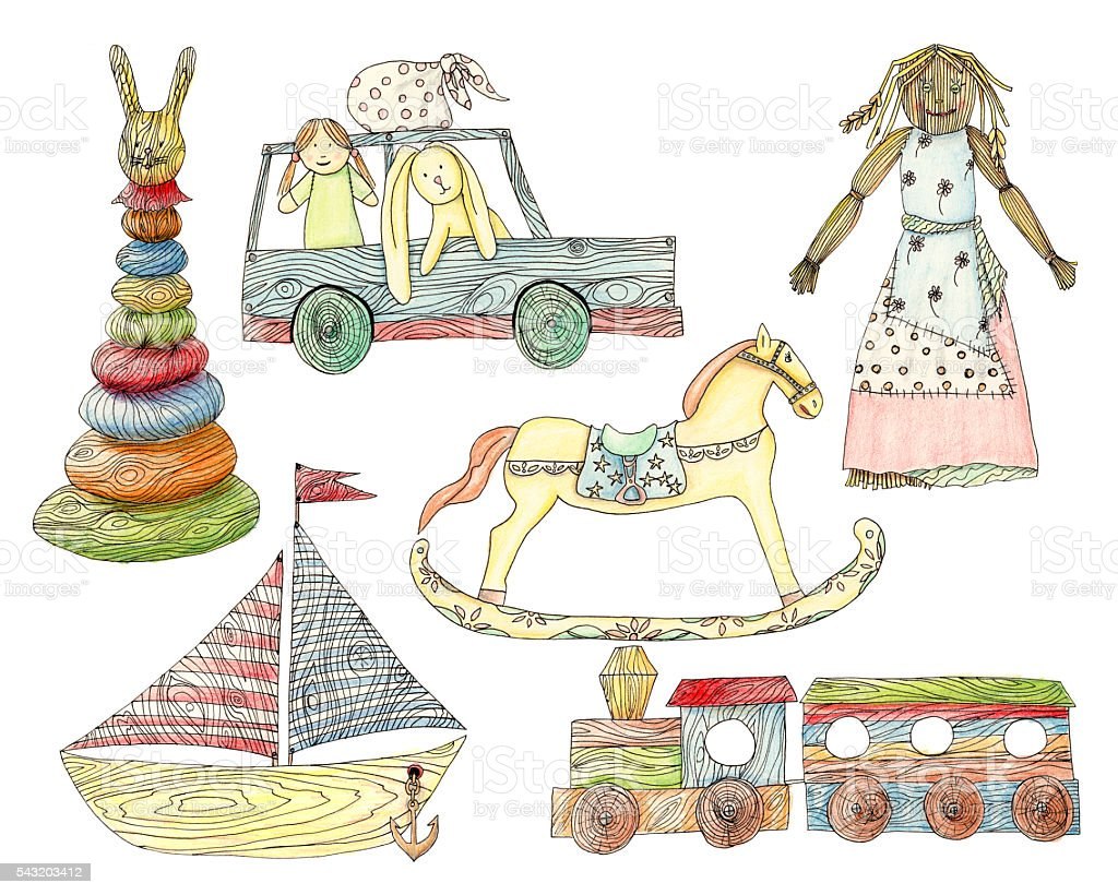 Old wooden children's toys - hand drawn pencil   illustration,set vector art illustration