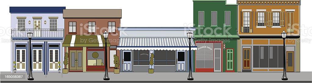 Old Wooden Storefront Buildings vector art illustration